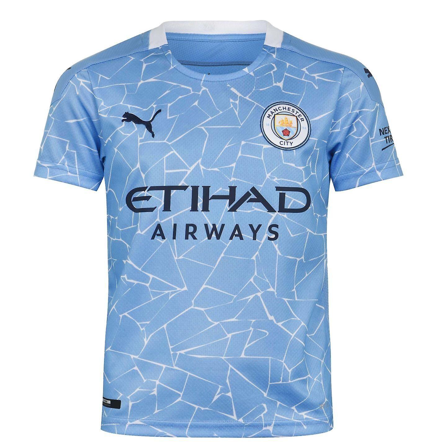 Puma Kids Manchester City Home Shirt 2020 2021 Junior Short Sleeve Crew Neck Top Bleu 7-8 (S)