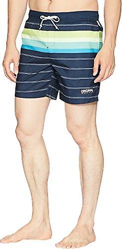 Original Penguin Men-apos;s Stripe Elastic Waist Volley Swim Short, Dark Sapphire ... Jaune X-Large US /
