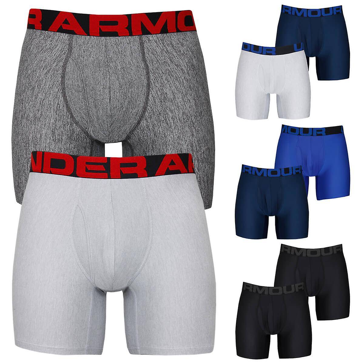 Under Armour Mens 2020 Tech 6in Moisture Wicking 4-Way Stretch (2 Pack) Boxers Noir S