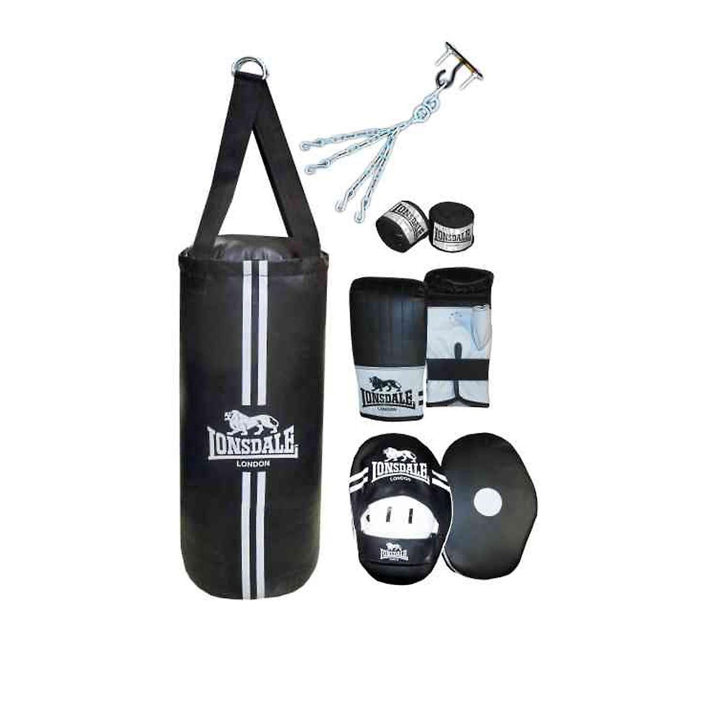 Lonsdale Contender Boxset Punch Bag Mitts Hook Et Jab Pads Hand Wrap Training Noir One Size