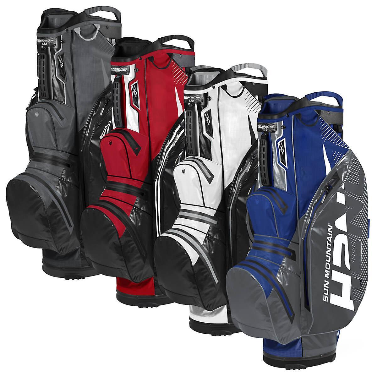 Sun Mountain Unisex 2020 H2NO Lite Waterproof Clothing Pockets 15 Way Cart Bag Nickel/Bleu One Size