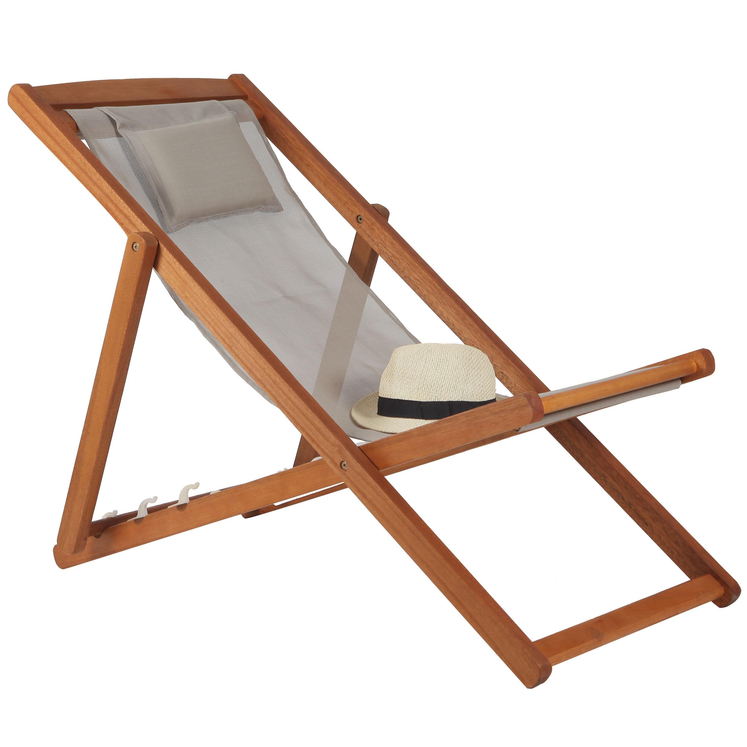 Rendez vous déco Chaise longue Panama taupe en bois