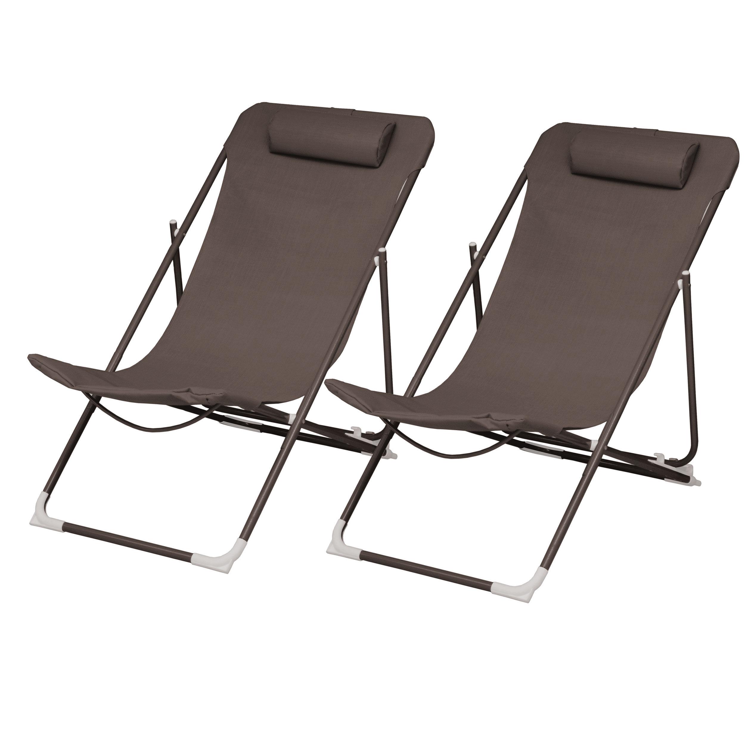 Rendez vous déco Chaise longue Almeria café (lot de 2)