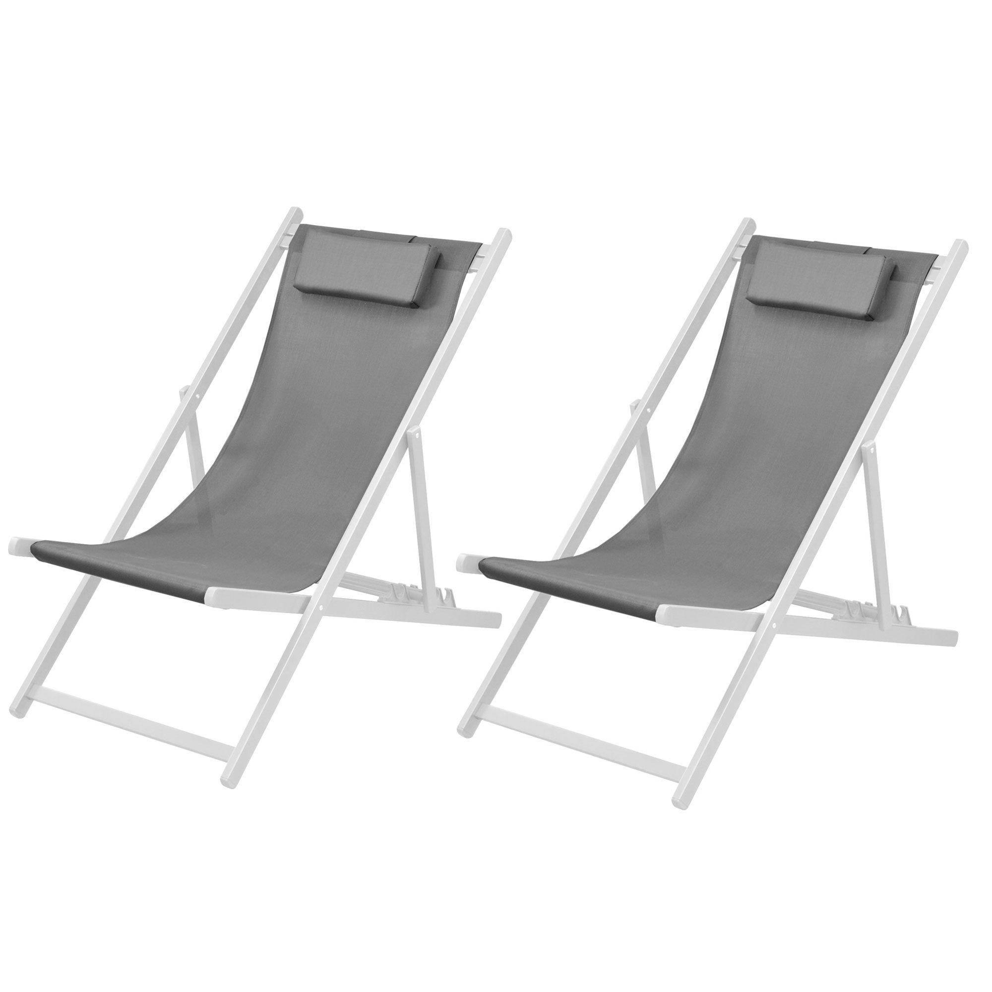 Rendez vous déco Chaise longue Calvi grise et blanche (lot de 2)