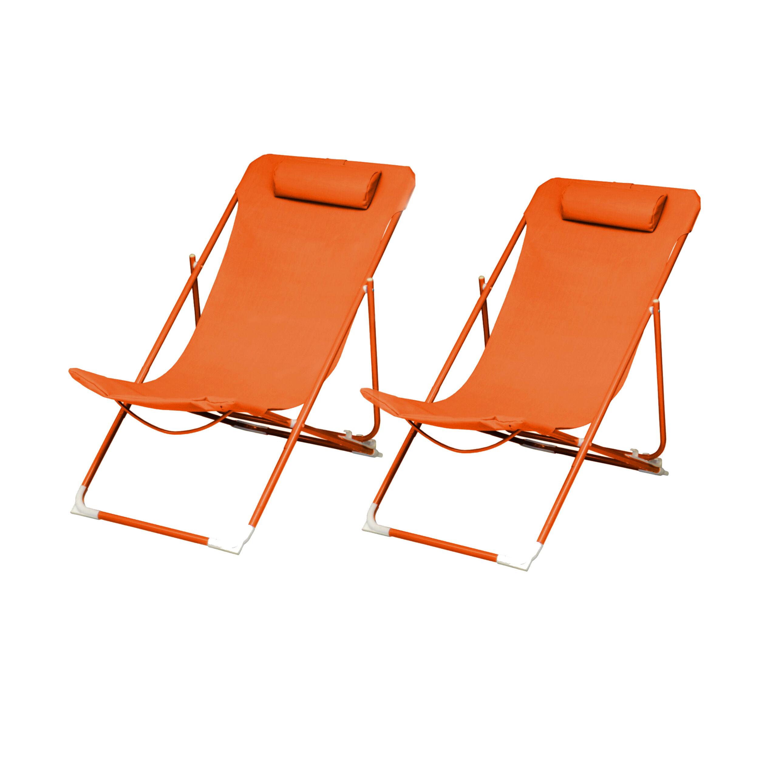 Rendez vous déco Chaise longue Almeria orange (lot de 2)