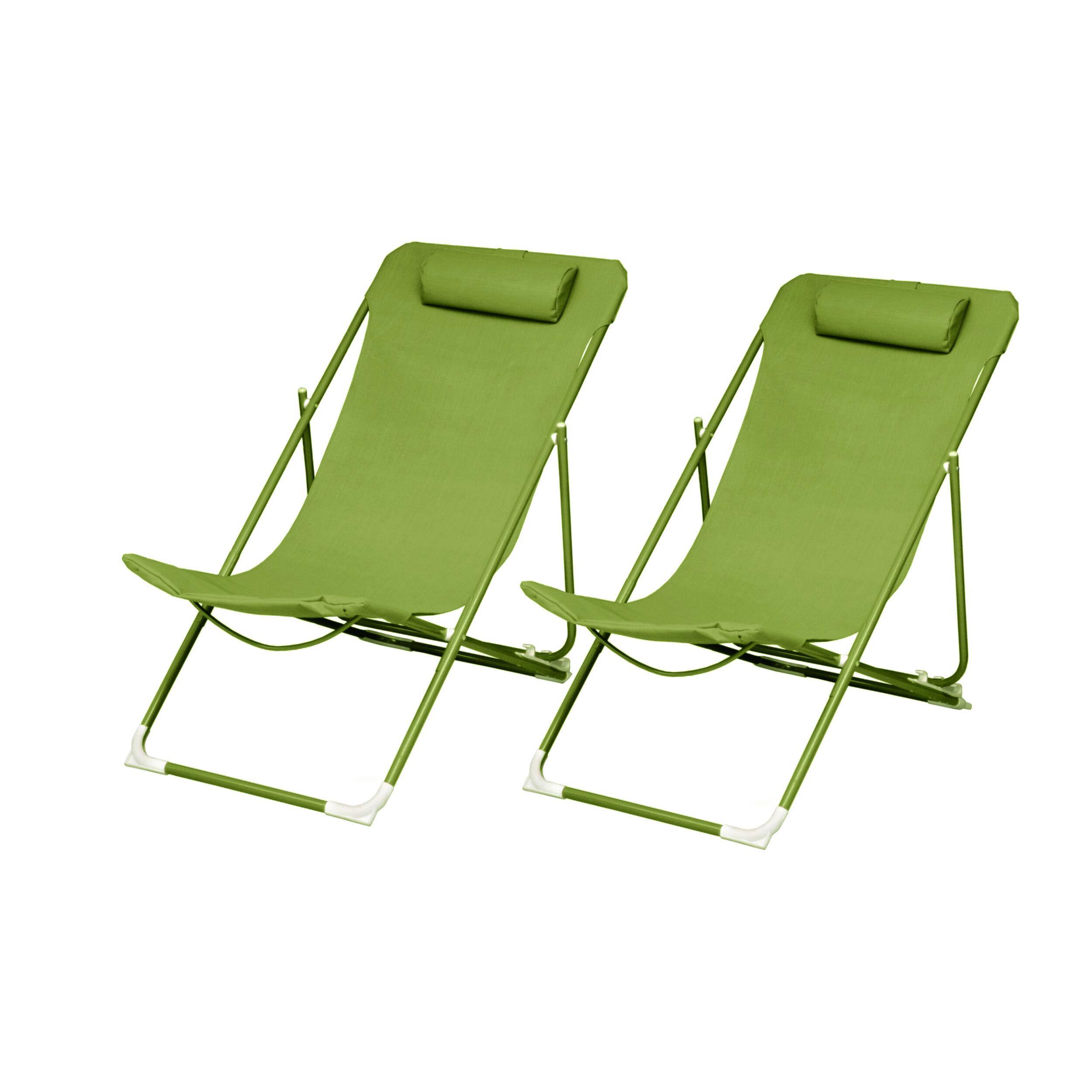 Rendez vous déco Chaise longue Almeria vert tilleul (lot de 2)