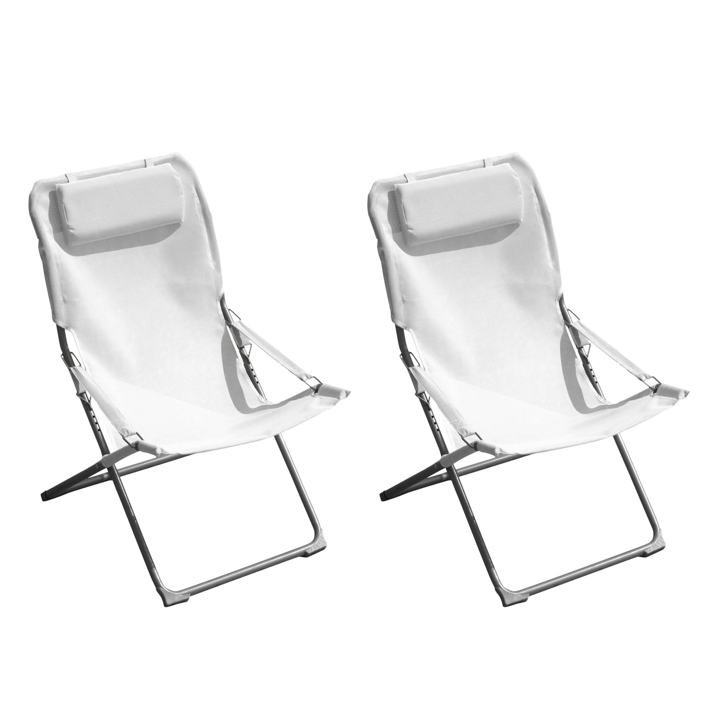 Rendez vous déco Chaise longue Java blanche (lot de 2)
