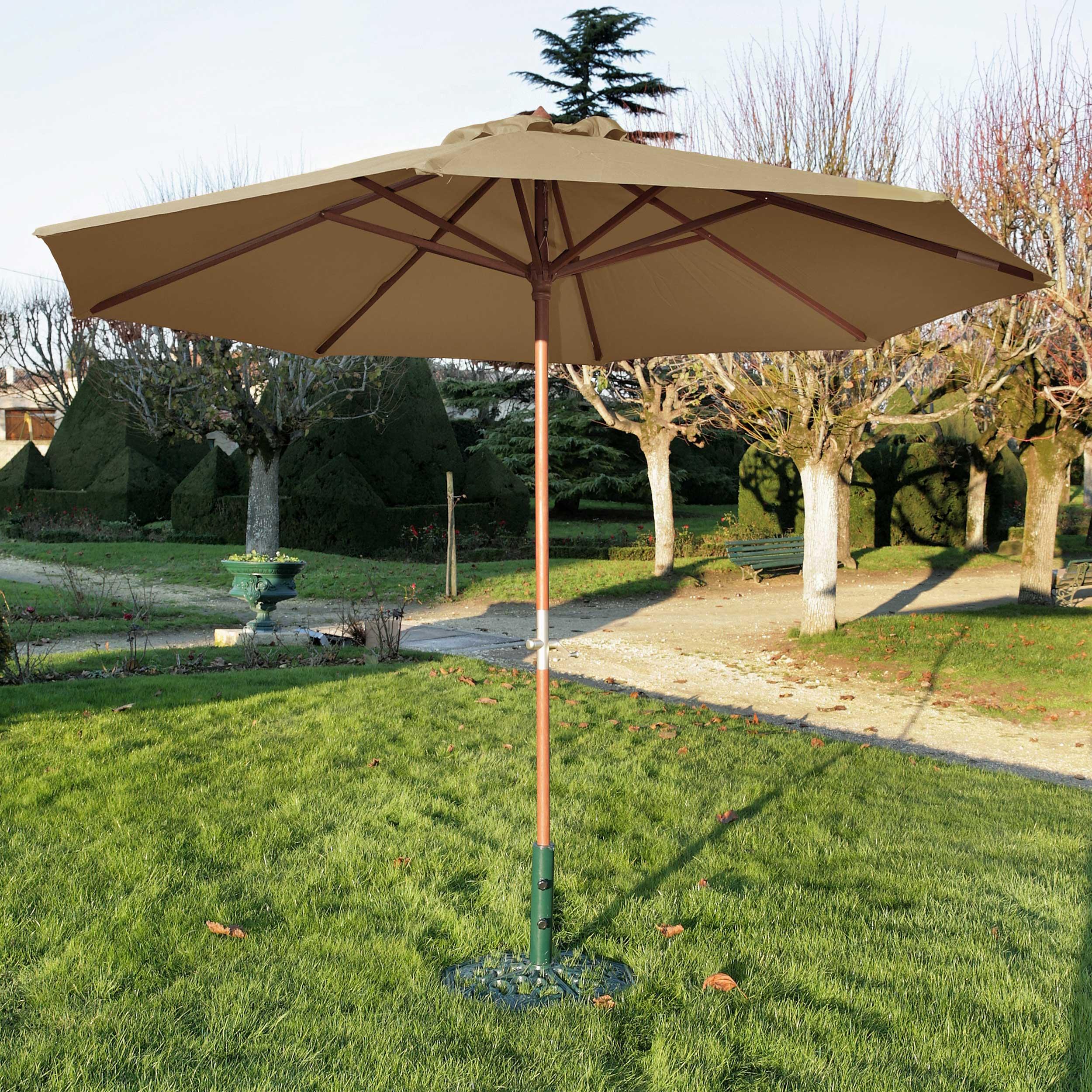 Rendez vous déco Parasol droit en bois Biarritz taupe