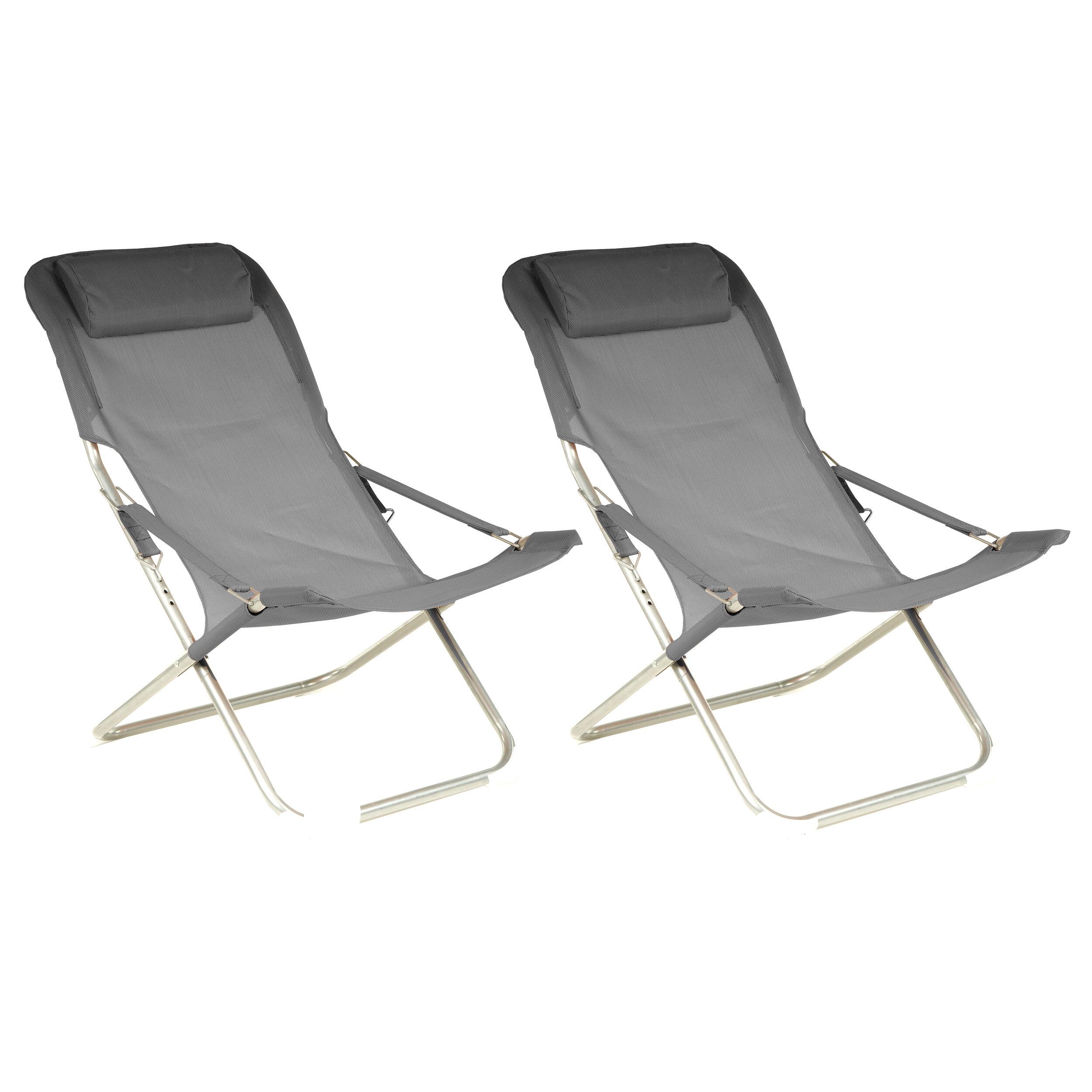 Rendez vous déco Chaise longue Java grise (lot de 2)