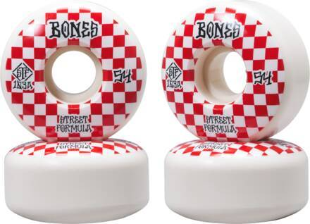 Bones Roues Skate Bones STF V3 Slims Pack de 4 (54mm - Blanc/Rouge)