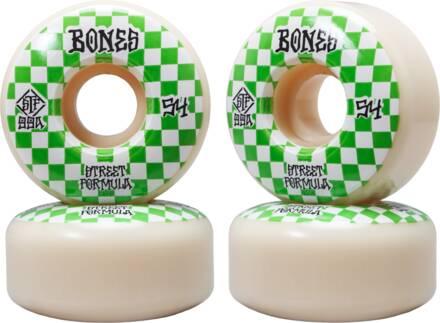 Bones Roues Skate Bones STF V3 Slims Pack de 4 (54mm - Blanc/Vert)