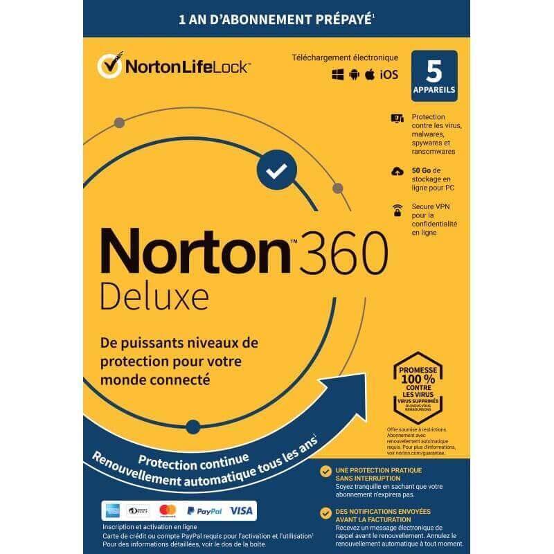 Symantec Norton 360 Deluxe 2021 - 5 Appareils 1 An - Abonnement Automatique
