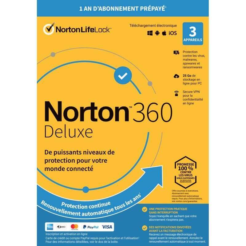 Symantec Norton 360 Deluxe 2021 - 3 Appareils 1 An - Abonnement Automatique
