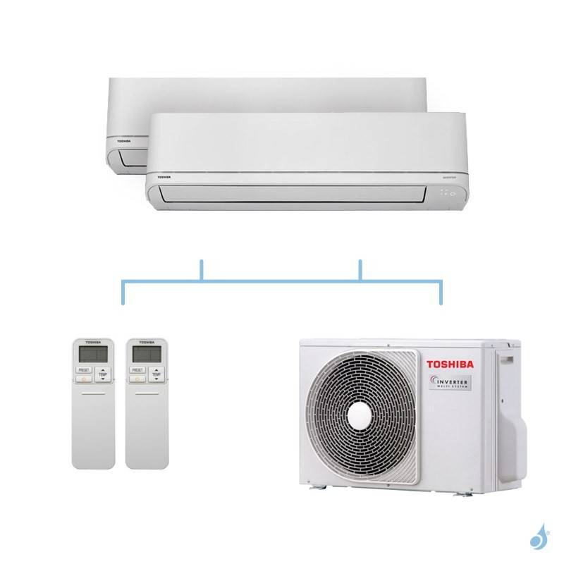 TOSHIBA climatisation bi split mural gaz R32 Shorai 4kW RAS-B10PKVSG-E + RAS-B10PKVSG-E + RAS-2M14U2AVG-E A++