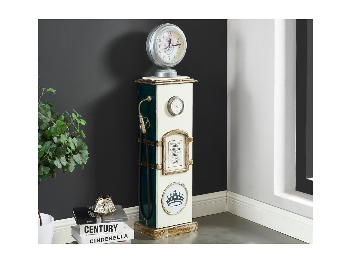 Lampe de décoration range-CD et horloge GASOLINE - H.110 cm - Blanc et vert
