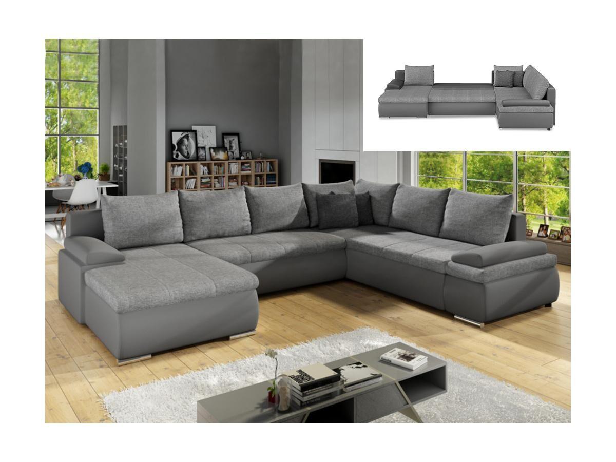Canapé d'angle panoramique convertible et réversible en simili et tissu DAKOTA - Gris