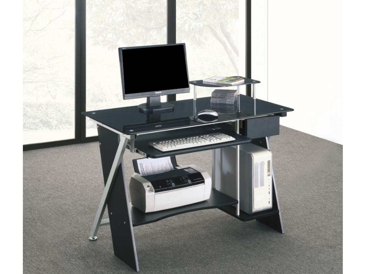 Bureau informatique PASCAL - 1 tiroir - Verre trempé noir