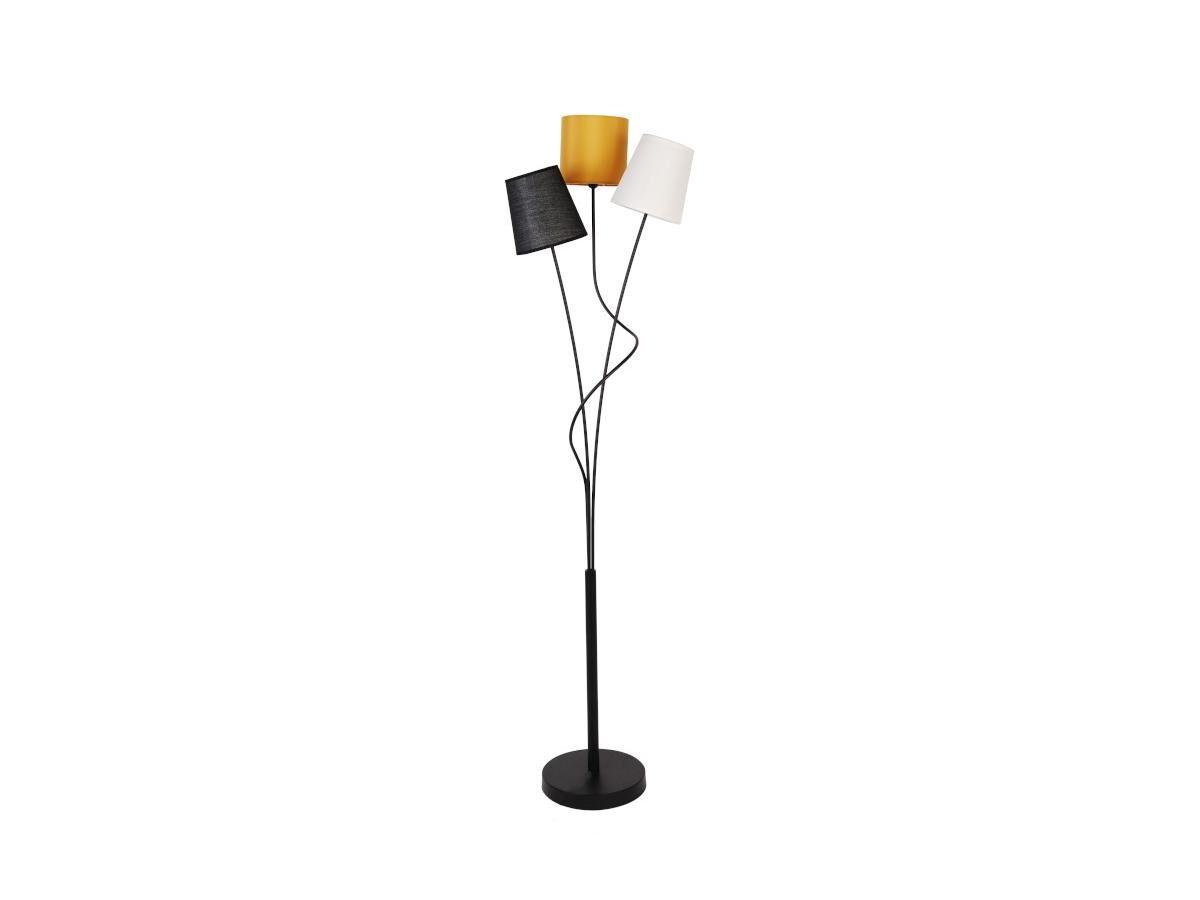 Lampadaire 3 abat-jours style contemporain VERITAS - Métal et tissu - H. 149,5 cm - Moutarde, noir, beige