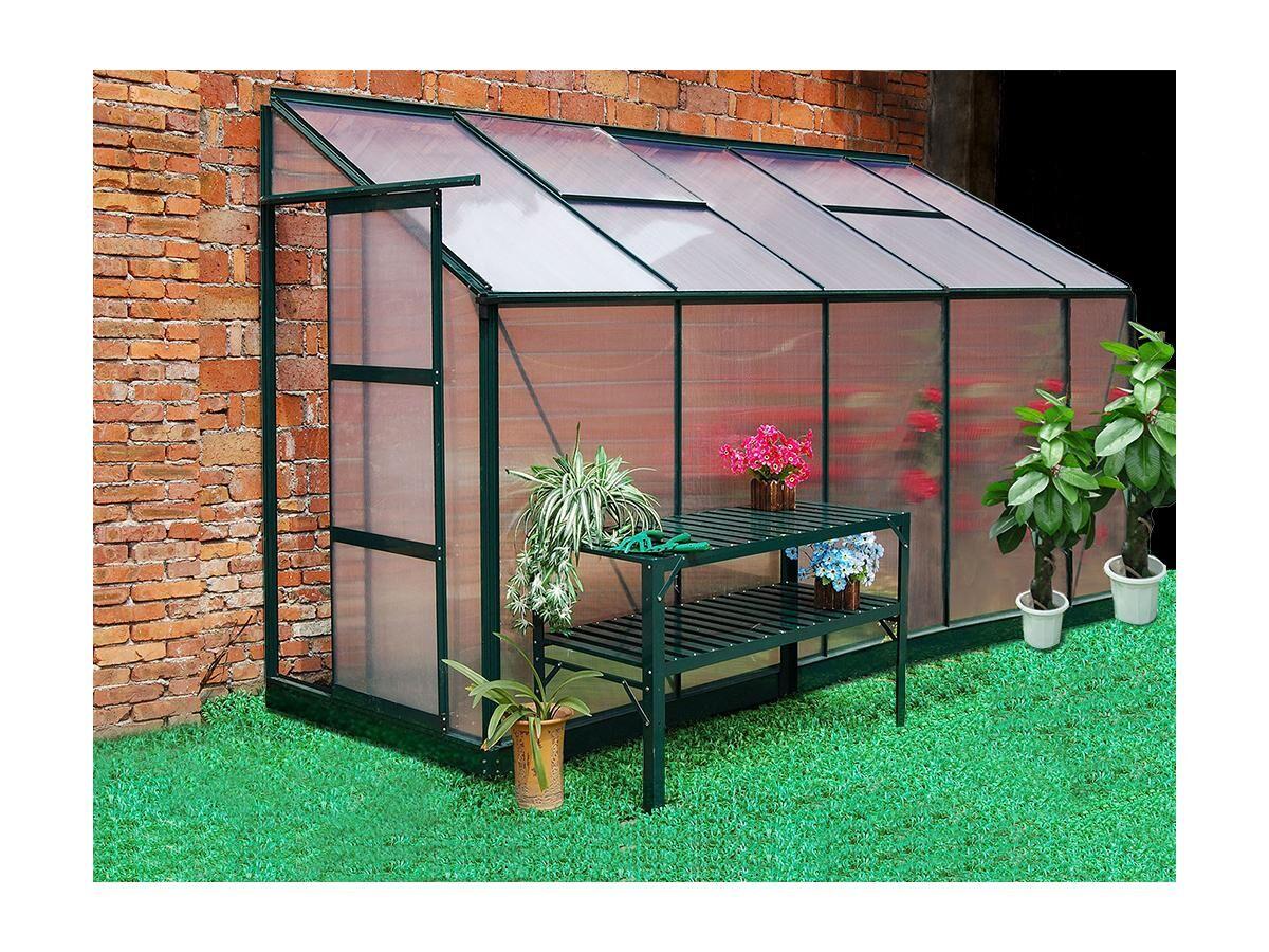 Serre de Jardin adossée en polycarbonate de 3.7 m² CALICE II avec embase - vert