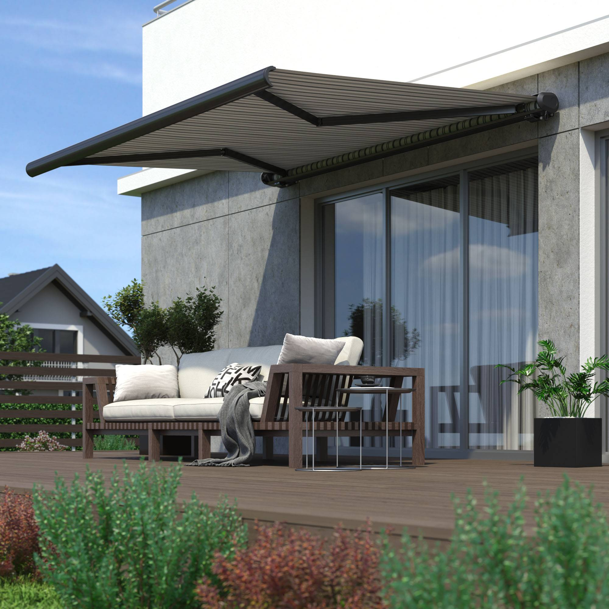 Paramondo Store Banne Coffre Motorisé, Prêt-à-poser, Cadre Blanc, Toile Blanc - Gris 5 x 3,5 m