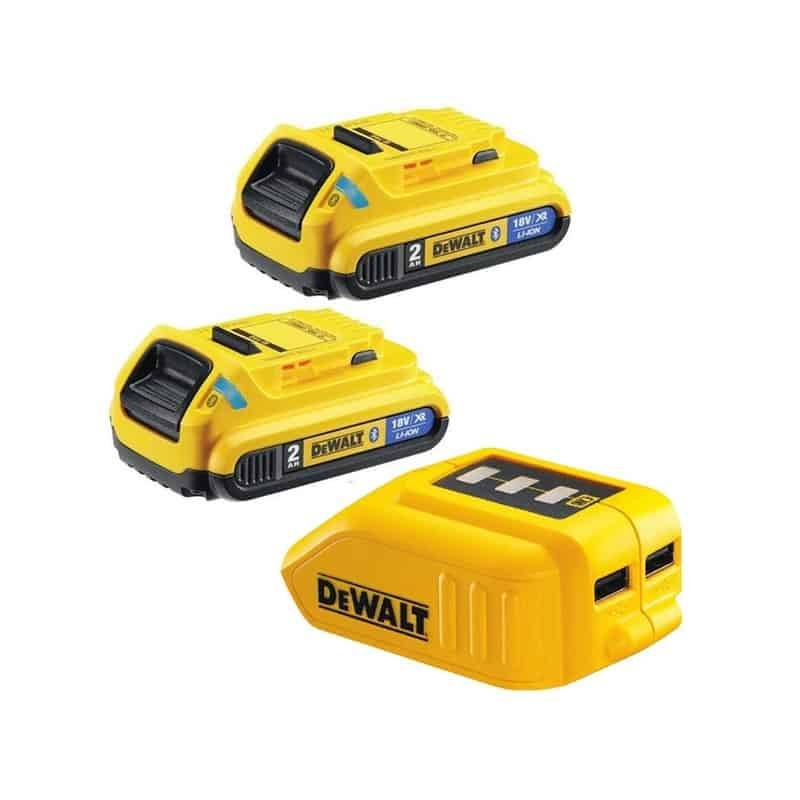 DEWALT Pack 2 batteries bluetooth 18V 2Ah + Adapt USB - DCB283BC
