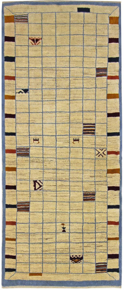 Nain Trading Tapis Gabbeh Loribaft 198x82 Moderne/Design Coureur Beige/Rose (Noué à la main, Laine, Perse/Iran)