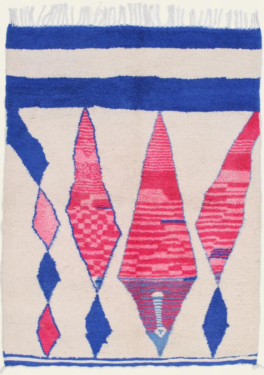 Nain Trading Tapis Authentique Berber Beni Ourain 196x148 Gris/Violet (Laine, Maroc, Noué à la main)