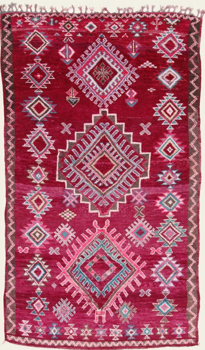 Nain Trading Tapis Berber Beni Ourain 299x178 Moderne/Design Rouge Foncé/Rose (Noué à la main, Laine, Maroc)