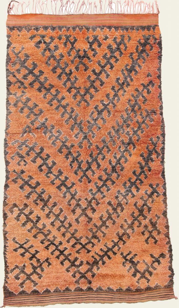 Nain Trading Tapis Berber Beni Ourain 301x171 Moderne/Design Marron/Rose (Noué à la main, Laine, Maroc)