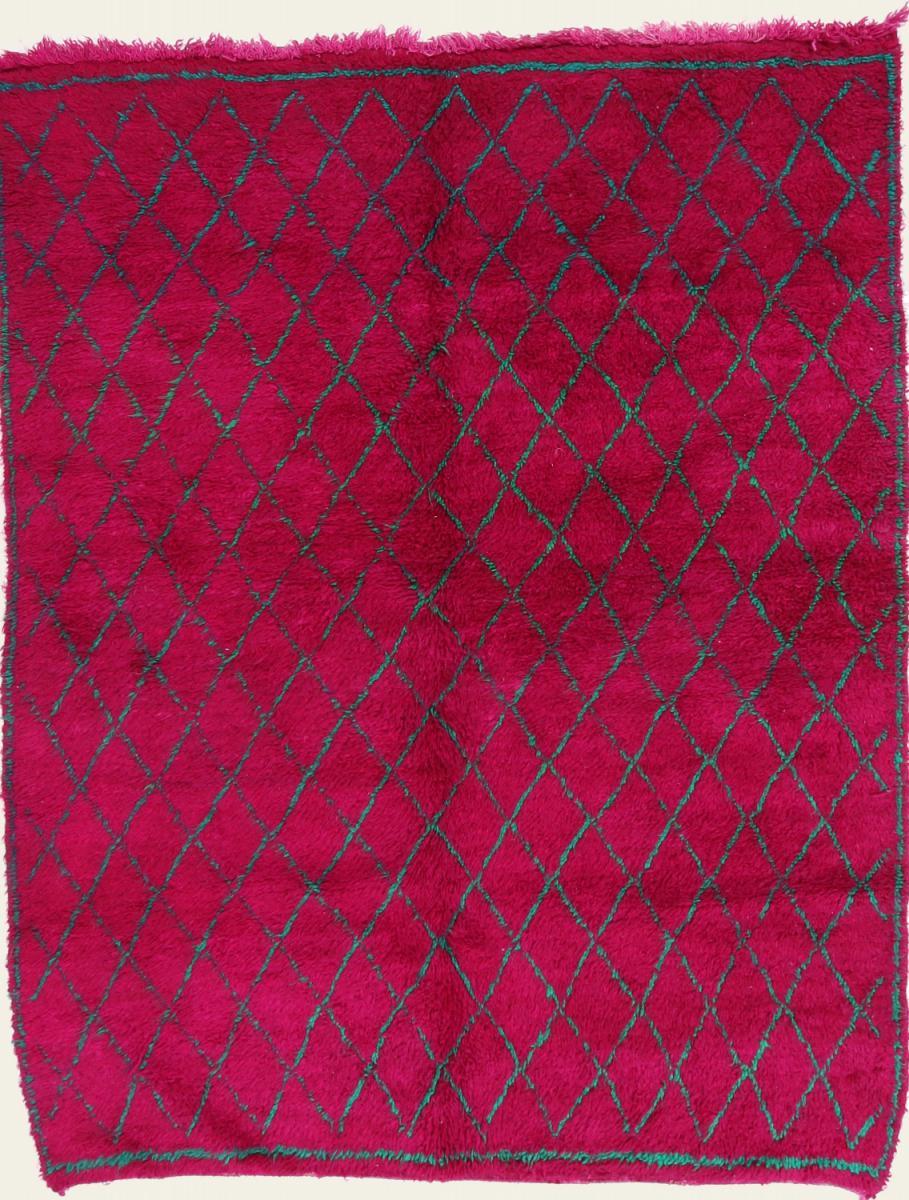 Nain Trading Tapis Berber Beni Ourain 221x175 Moderne/Design Rouge/Violet (Noué à la main, Laine, Maroc)