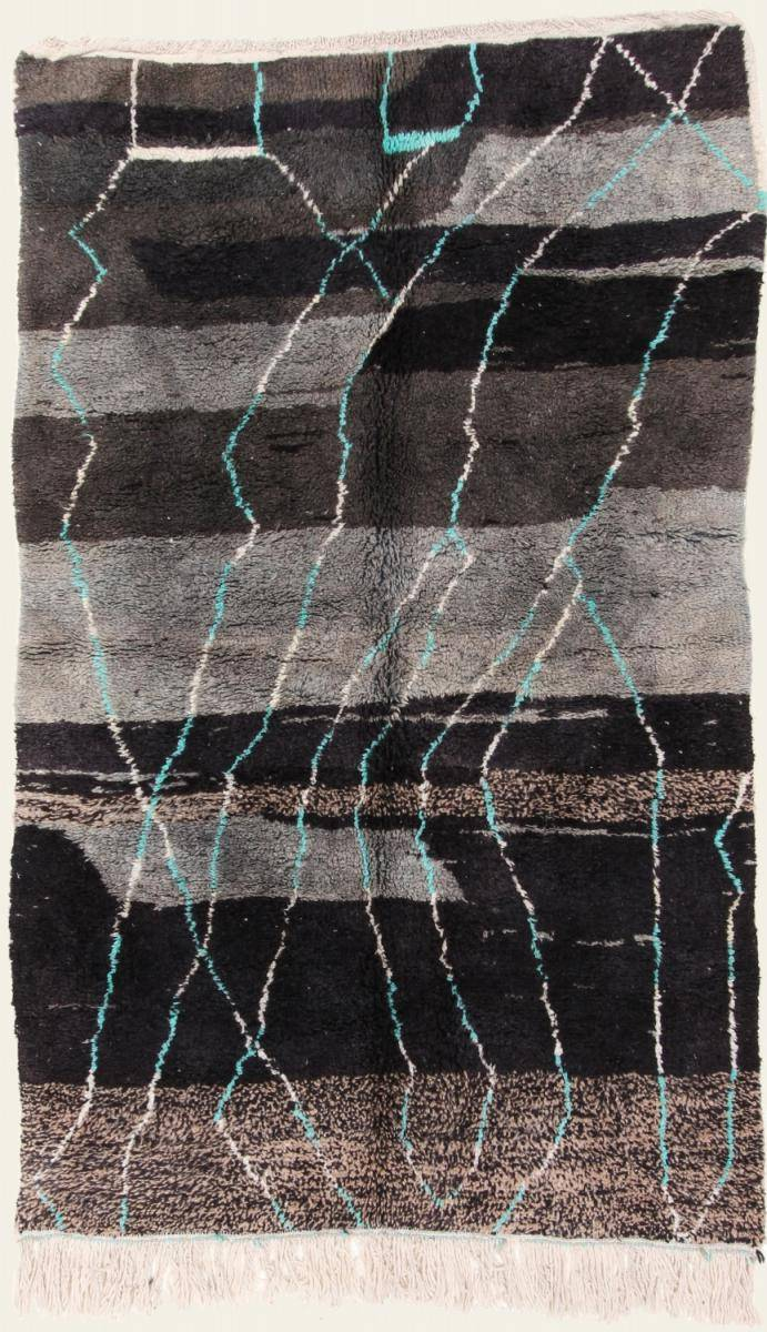 Nain Trading Tapis Berber Beni Ourain 252x157 Moderne/Design Gris Foncé/Marron Foncé (Noué à la main, Laine, Maroc)
