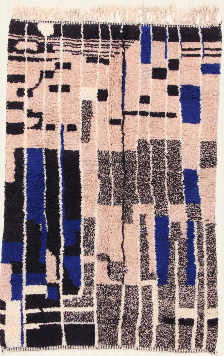 Nain Trading Tapis Authentique Berber Beni Ourain 246x159 Bleu Foncé/Rose (Laine, Maroc, Noué à la main)