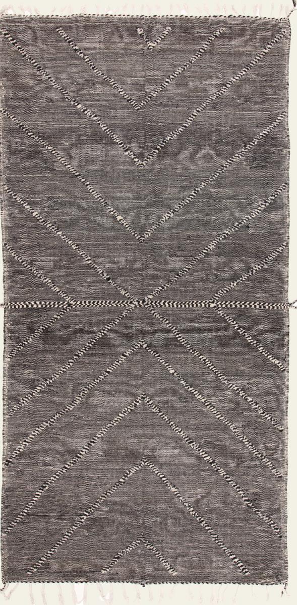 Nain Trading Tapis D'orient Kilim Berber Design 419x214 Coureur Gris Foncé/Beige (Laine, Maroc, Tissé à la main)