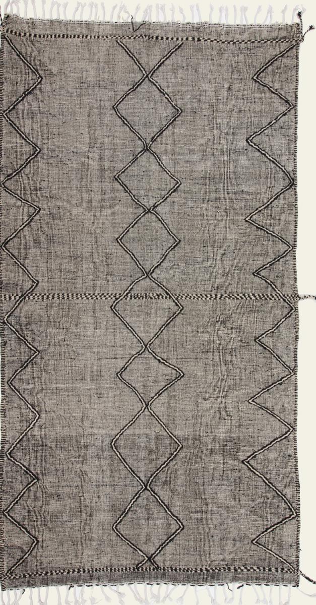 Nain Trading Tapis Kilim Berber Design 399x216 Coureur Gris Foncé/Marron Foncé (Laine, Maroc, Noué à la main)