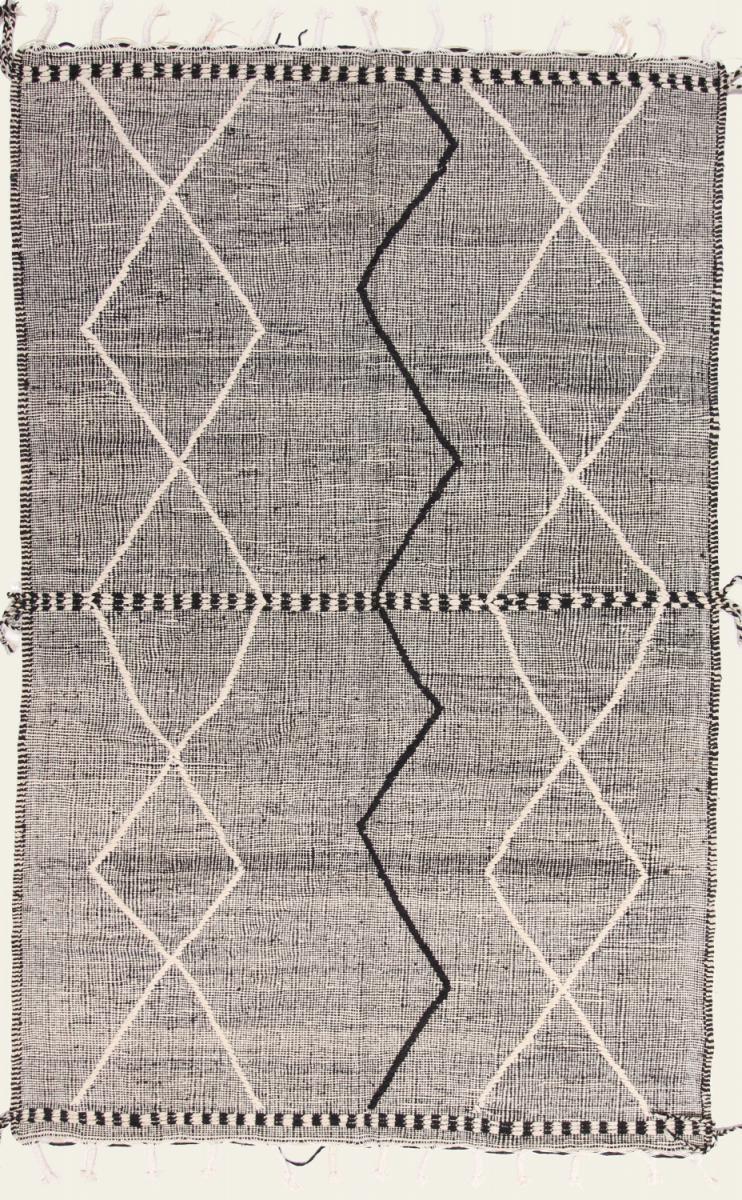 Nain Trading Tapis Kilim Berber Design 301x195 Gris Foncé/Beige (Laine, Maroc, Noué à la main)