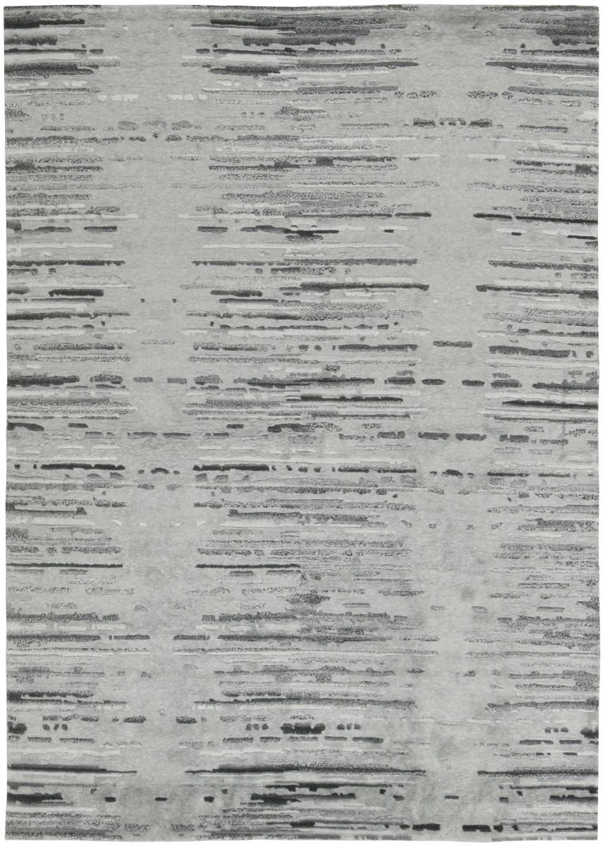 Nain Trading Tapis Deisgn Gabbeh 199x141 Moderne/Design Gris Foncé/Beige (Noué à la main, Laine/Viscose, Inde)