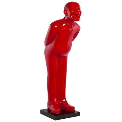 M-042 Statue grande taille homme qui rit rouge design FIRMIN