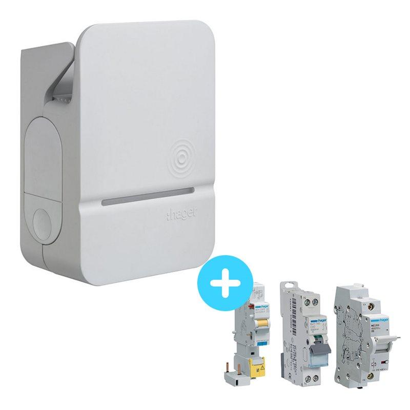 HAGER Borne de recharge HAGER Witty Premium 7,4kW ou 22kW - avec options RFID et modules de charge