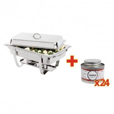 OLYMPIA Chafing Dish inox GN 1/1 + 24 capsules - Olympia