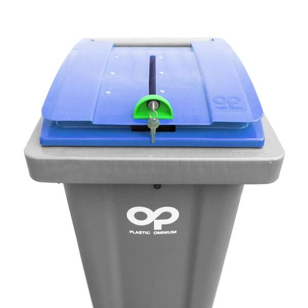 Atoutcontenant Conteneur déchets pour papier confidentiel - Couvercle bleu