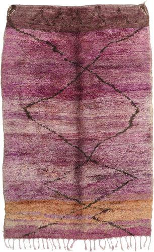 Noué à la main. Origine: Morocco Tapis Berber Moroccan - Beni Ourain 195X300 Violet/Rose Clair (Laine, Maroc)