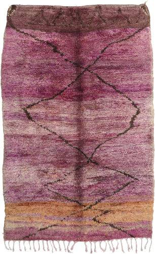 Noué à la main. Origine: Morocco 195X300 Tapis Berber Moroccan - Mid Atlas Moderne Fait Main Violet/Rose Clair (Laine, Maroc)