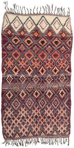 Noué à la main. Origine: Morocco Tapis Fait Main Berber Moroccan - Beni Ourain 214X385 Marron Foncé/Violet Foncé (Laine, Maroc)