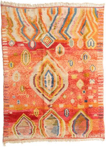 Noué à la main. Origine: Morocco Tapis Fait Main Berber Moroccan - Beni Ourain 221X295 Orange/Beige Foncé (Laine, Maroc)