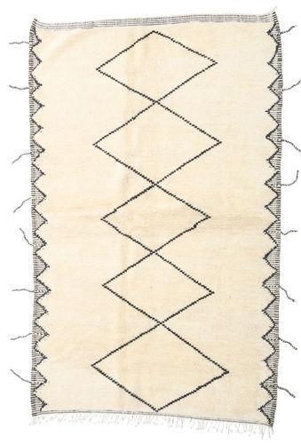 Noué à la main. Origine: Morocco 160X255 Tapis Berber Moroccan - Beni Ourain Moderne Fait Main Tapis Couloir Beige/Blanc/Crème (Laine, Maroc)