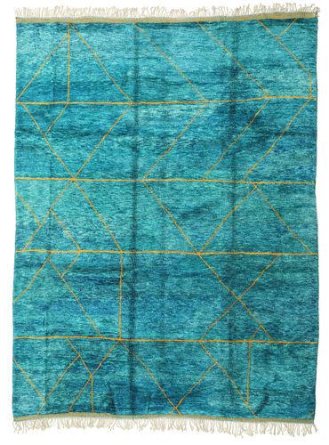 Noué à la main. Origine: Morocco Tapis Berber Moroccan - Mid Atlas 300X400 Bleu Turquoise/Blanc/Crème Grand (Laine, Maroc)