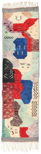 Noué à la main. Origine: Morocco Tapis Fait Main Berber Moroccan - Mid Atlas 85X312 Tapis Couloir Beige/Violet (Laine, Maroc)