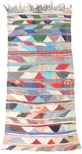 Noué à la main. Origine: Morocco Tapis Fait Main Berber Moroccan - Boucherouite 135X283 Gris Clair/Rose Clair ( Maroc)