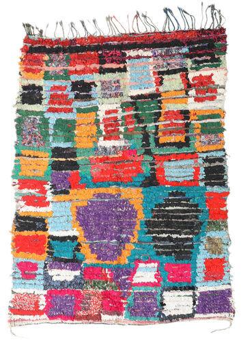 Noué à la main. Origine: Morocco Tapis Fait Main Berber Moroccan - Boucherouite 136X191 Gris Clair/Noir ( Maroc)