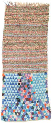 Noué à la main. Origine: Morocco 82X220 Tapis Berber Moroccan - Boucherouite Moderne Fait Main Tapis Couloir Blanc/Crème/Bleu Turquoise (Maroc)